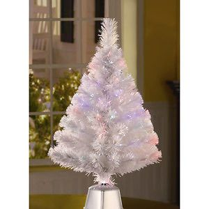 32 WHITE FIBER OPTIC CHRISTMAS TREE ~ CHANGES COLOR CONTINUOUSLY ~ 32