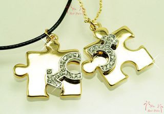 VALENTINE s COUPLE LOVER PUZZLE Pieces Pendant NECKLACE use SWAROVSKI