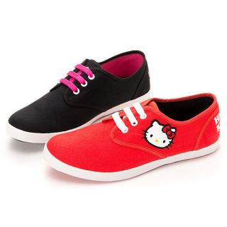 Sanrio Hello Kitty Ladys Comfy Casual Sneakers Shoes in Red, Black