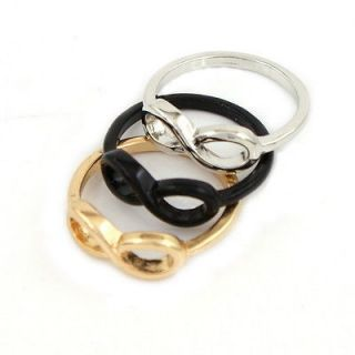 3pcs Fashion Infinity Ring Punk Style Golden Black Silver Tone