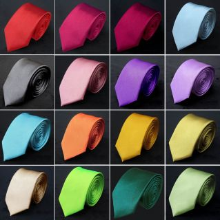 Mens Italian Satin Solid Color Plain Normal Tie & Pocket Hanky