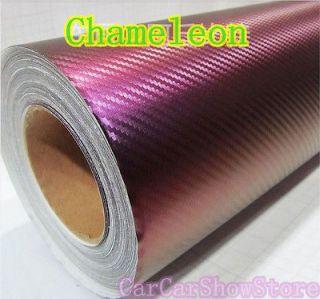 24 X 60 Chameleon Purple TO Gold Carbon Fiber Wrap Vinyl Air Release