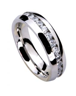 Mens Wedding Band Ring Stainless Steel CZ Sizes 7 14 including 12