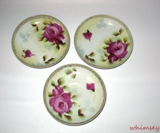 Te Oh China Nippon 3 Saucers Hand Painted Roses and Moriage