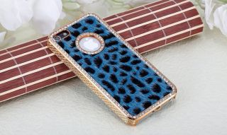 New Luxury hard gold plate BLUE LEOPARD CHEETAH FAUX FUR Bling case