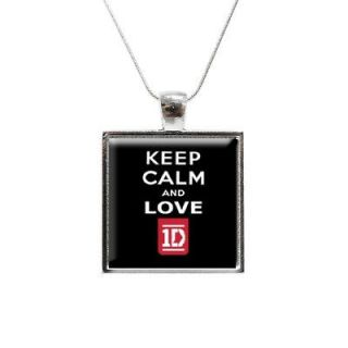 Keep Calm and Love One Direction Glass Pendant and Necklace   1D 1
