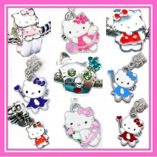Silver Pl KIDS HELLO KITTY CHARM BEADS For Charm Bracelets BUY ANY 4