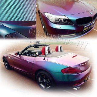 22 X 60 3D Car Chameleon Carbon Fiber Vinyl Sticker Green to Purple