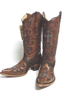 Corral ladies Western Boots C1104 Brown Python with Crystal Cross