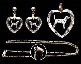 Black and Tan Coonhound Earrings Pendant Chain Gift Set