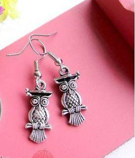HOT Wholesale Lady 12Pair/Lot Charm Fashion Jewellery Silver Owl Stud