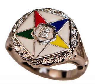 Order of the Eastern Star Ring OES White gold overlay size 11 BEA