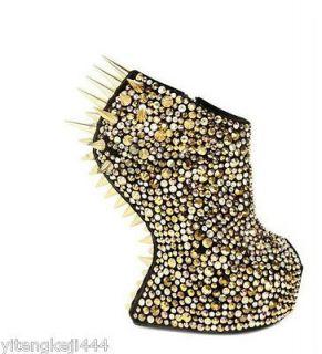 Womens Sexy Spike Studded Peep Toe Platform Leather No Heels Wedge