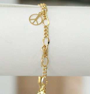 Newly listed 24k GOLD EP ANKLE BRACELET PEACE SIGN ANKLET CHAIN