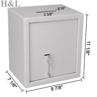 Newly listed WHITE SOLID STEEL SAFE SECURE CASH BOX DROP SLOT DEPOSIT