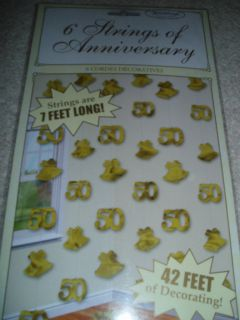 50th Golden Wedding Anniversary String Decorations 6 x 7ft with Bells