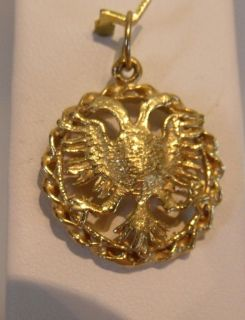 14K YELLOW GOLD ROUND DOUBLE HEADED EAGLE ALBANIAN CHARM 4.2gr