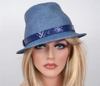 NWT BURBERRY $250 JACKIE JET BLUE NOVA CHECK FEDORA TRILBY HAT~LARGE