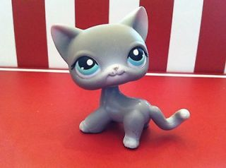 Littlest Pet Shop #126 SHORT HAIRED GREY W/TEAL EYES CAT/KITTEN EUC