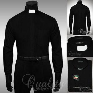 Black Clergy Tab Collar 19.5 36/37 French Cuff Mens Shirt by Daniel