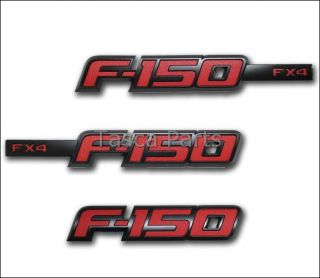 NEW BLACK/RED FX4 SPORT APPEARANCE PACKAGE EMBLEM SET 2009 2013 FORD