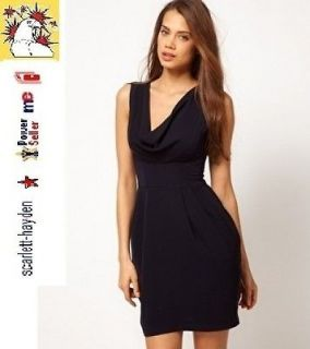 New ASOS Navy Tulip Fitted Dress with Cowl Front Size 6 8 10 12 14