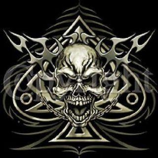 Biker T Shirt Spade Chains Skull Chopper Tee