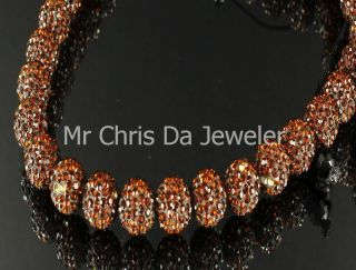 MENS ORANGE BROWN BEAD BALL FASHION NECKLACE CHAIN CELEBRITY JEWELRY