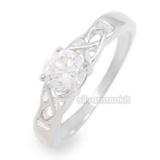 Women Silver Celtic Knot Brilliant CZ Stainless Steel Wedding Ring