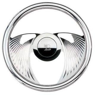 Billet Spec Steering Wheel Solid Eagle Aluminum 2 Spoke Fluted 14 Dia