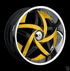 22 Hipnotic Cnote Chrome wheel Rims, Black inserts &Tires Fit Chevy