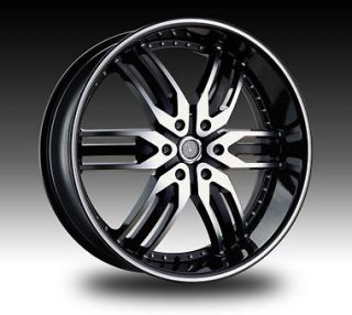 24 inch VELOCITY VW125A 24X9.5 Black Machined RIMS 24 Wheels SET