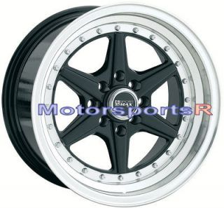 15 15x8 XXR 501 Black Rims Deep Dish Lip 4x100 Stance 92 95 97 02