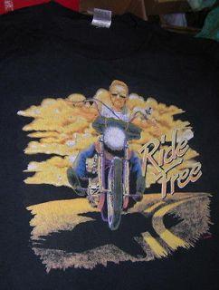 RIDE FREE VINTAGE BIKER T SHIRT XL MOTORCYCLE EASY RIDER RETRO