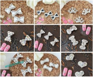 Lots 10 Pcs Silver Plated 3D Alloy Rhinestone Nail Art Glitters Tips