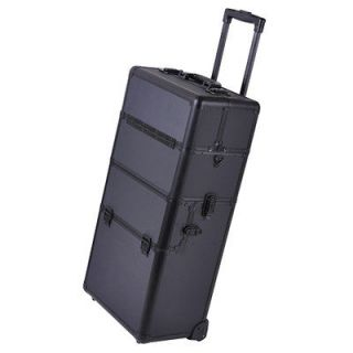 2in1 Rolling Aluminum Makeup Artist Cosmetic Train Case Hair Style Box
