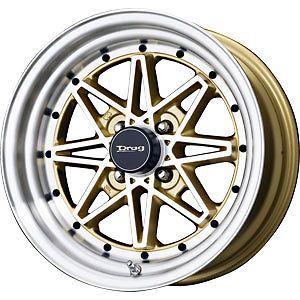 New 15X7 4x100 DRAG DR 20 Gold Wheels/Rims