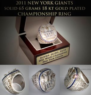NFL 2011 New York Giants Super Bowl Gold Plated Championship Ring