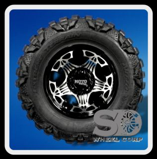 18 WHEELS RIMS MOTOMETAL SKULL GLOSS BLACK W/ 35X12.50X18 NITTO MUD