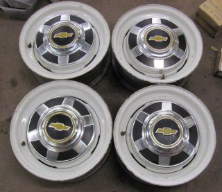 Chevy 3 4 Ton Truck 8 Lug 16X6 5 Wheels Rims With Center Caps Set of 4