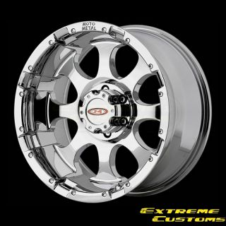16 x8 Moto Metal MO955 Chrome 5 6 8 Lug Wheels Rims Free Lugs