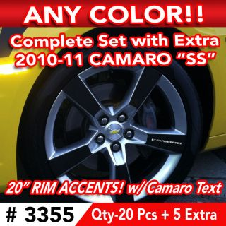 25pc Set 2010 11 Chevy Camaro SS Wheel 20 Rim Accents Decal Sticker