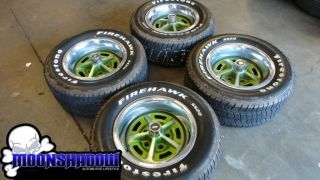 VINTAGE OLDSMOBILE CUTLASS 14 RALLY WHEELS & FIRESTONE FIREHAWK TIRES