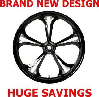 Baja Black Contrast Cut 21 Wheel Tires Package Set 4 Harley FLHT FLHX