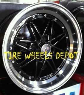 15 inch STR505B Black Mach Rims and Tires 4x100 Accord Civic Fit