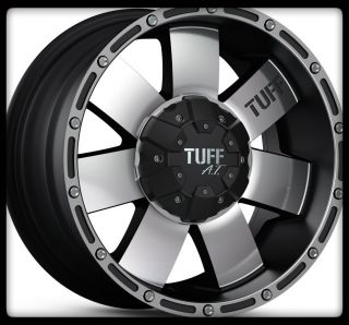 16 X 8 TUFF T02 TACOMA PATHFINDER SAFARI ESCALADE 5 6 LUG BLACK WHEELS