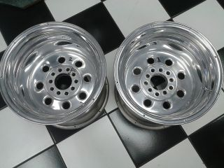15 x 14 Rear Pair of Polished Drag Race Wheels