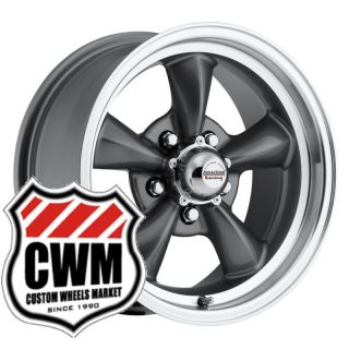 15x6 Charcoal Gray Aluminum Wheels Rims 5x4 75 for Chevy rwd Cars 82