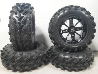 MSA Elixir Black 14 ATV Wheels 27 Swamp Lite Tires Sportsman RZR