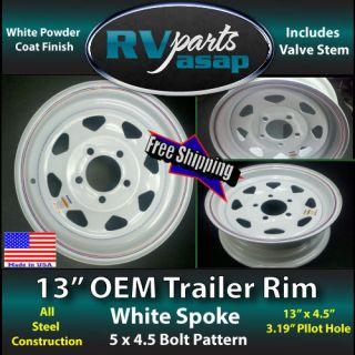 Trailer Wheels Rims 13 White Spoke 5 Bolt Made in USA 5 on 4 5 Heavy
